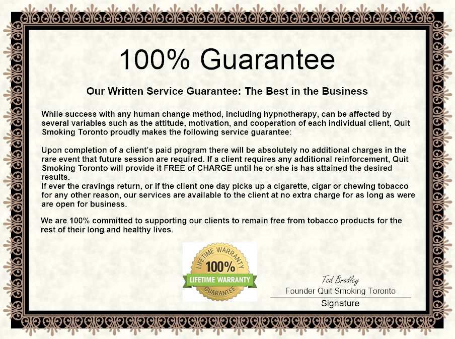 Quit Smoking Toronto Guarantee Certificate